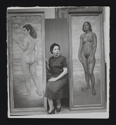 Macena Barton with two of her paintings, 195-? / unidentified photographer.