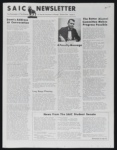 School of the Art Institute of Chicago newsletter, volume one, issue 2, 1965