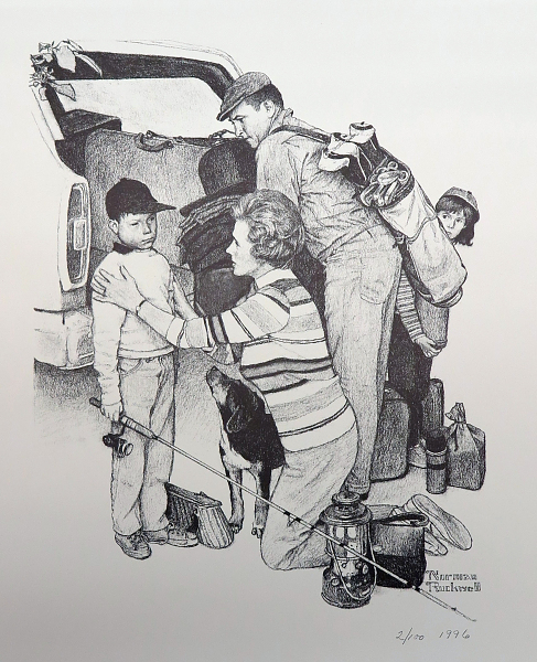 Norman Rockwell Print, Mumps, Boy in Auto