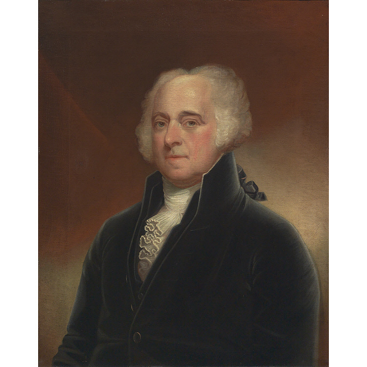 Man in a powdered wig and black suit with a white shirt and cravat