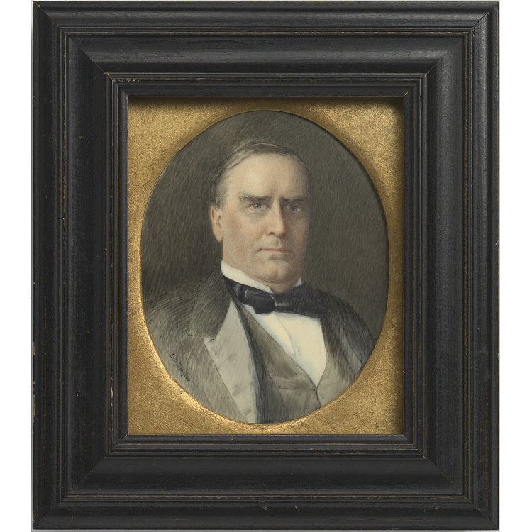 Miniature, bust-length portrait of a man in a gray suit.