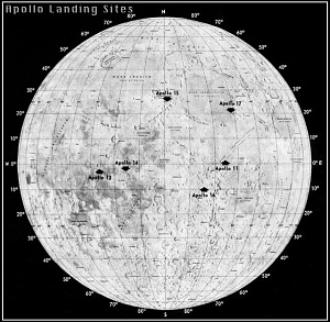 Apollo Landing Spots on Moon