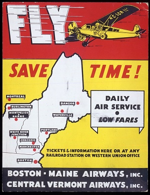 Fly Save Time! Commercial Aviation Advertising Poster