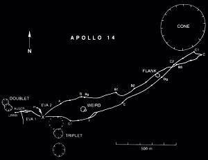 Apollo 14 traverse map