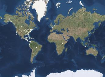 map showing research sites around the world