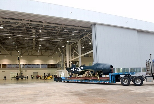 <i>Helldiver</i> Moves Into Mary Baker Engen Restoration Hangar
