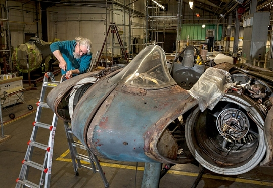 Aircraft Mechanic Works on Horten