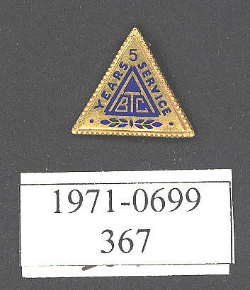 Pin, Lapel, 5 Years Service, A.T.B.C.