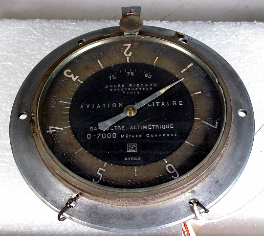 Altimeter, French, Military, Jules Richard, SPAD XVI (Mitchell)