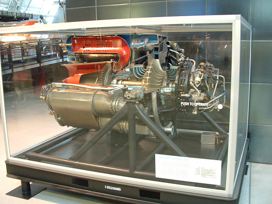 GE J31 Turbojet Engine, Cutaway, Motorized