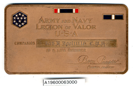 Membership Card, Army and Navy Legion of Valor, James H. Doolittle