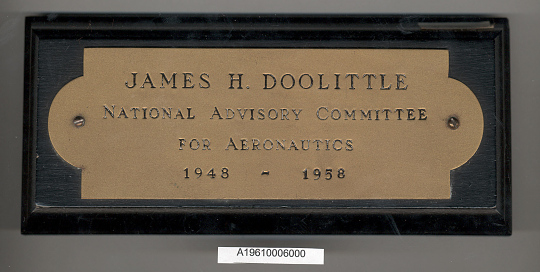 Nameplate, James H. Doolittle, National Advisory Committee for Aeronautics
