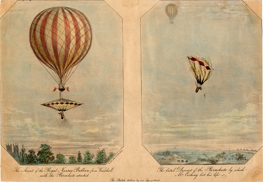 The Ascent of the Royal Nassau Balloon from Vauxhall and The Fatal Descent of the Parachute
