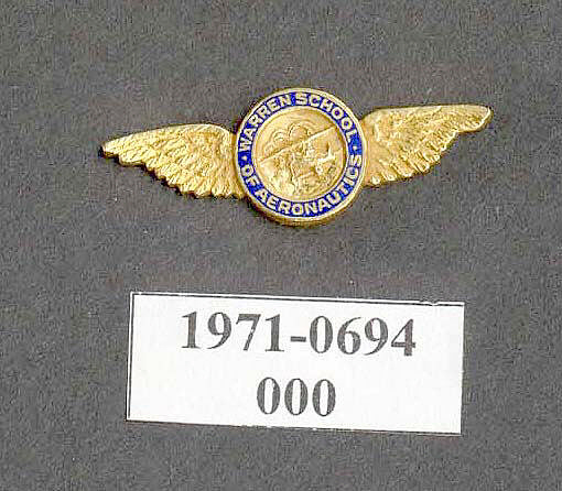 Pin, Lapel, Warren School of Aeronautics