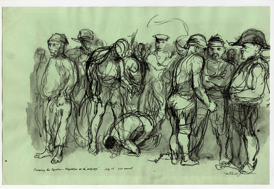 Sketch of People Crossing Equator