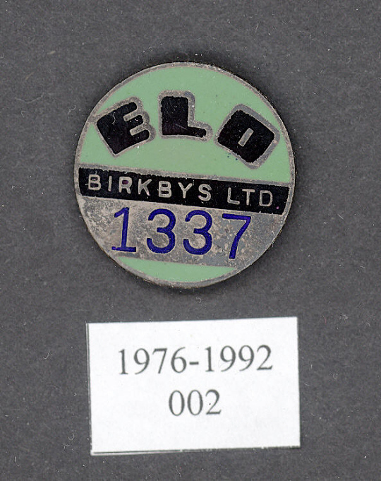 Pin, Lapel, War Worker, Birkbys Ltd.