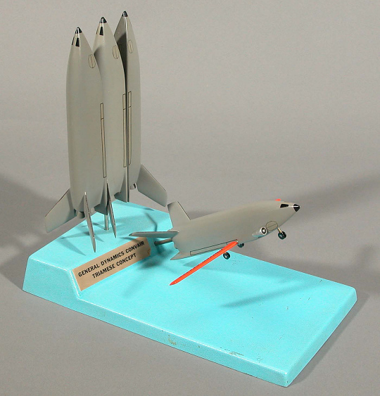Model, Space Shuttle, General Dynamics / Convair FR-4 2-Stage Triamese Concept