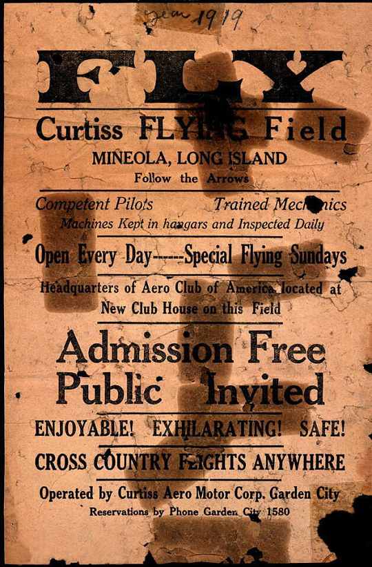 Fly Curtiss Flying Field Mineola Long Island