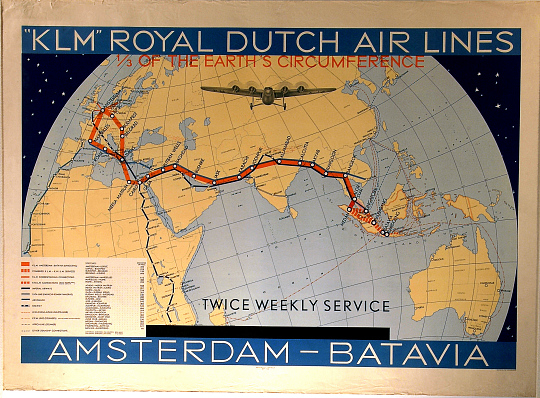 K. L. M. Royal Dutch Air Lines 1/3 of the Earth's Circumference