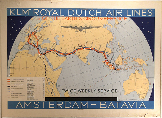 K. L.. M. Royal Dutch Air Lines 1/3 of the Earth's Circumference