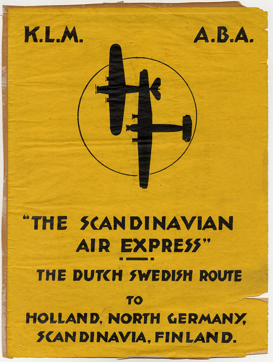 """The Scandinavian Air Express"" Dutch Swedish Route to Holland, North Germany, Scandinavia, Finland"