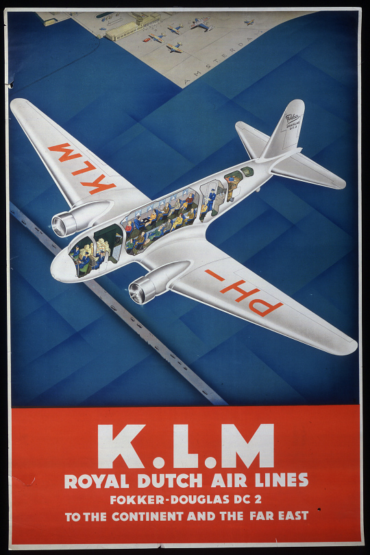 K.L.M. Royal Dutch Airline Fokker- Douglas DC2 To the Continent and the Far East