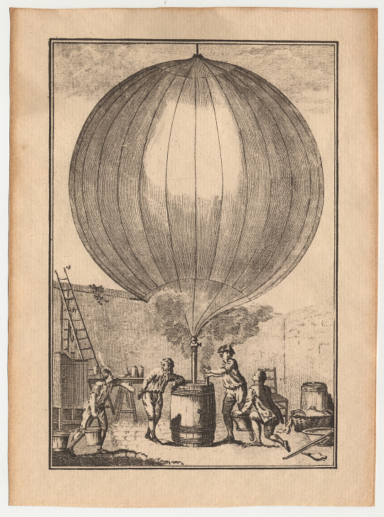 Inflation of First Hydrogen Balloon, by J. A. C. Charles