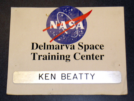 Name Plate, Delmarva Space Training Center, Ken Beatty