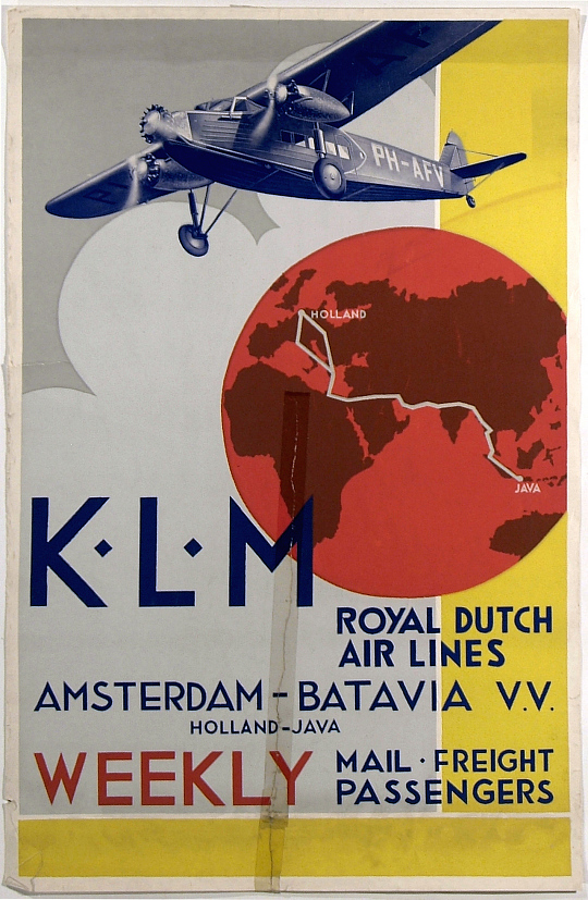 K.L.M. Royal Dutch Airline Amsterdam-Batavia (Java ) v.v Weekly Service