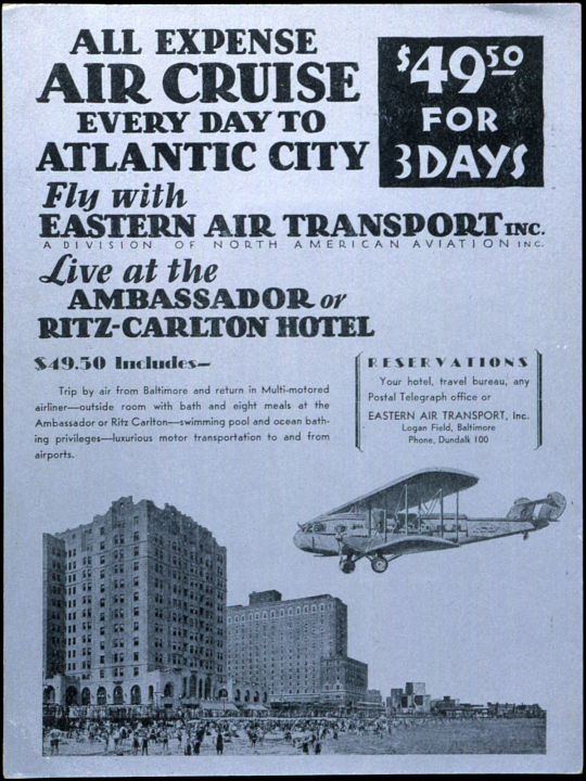 All Expense Air Cruise Every Day to Atlantic City Fly With Eastern Air Transport
