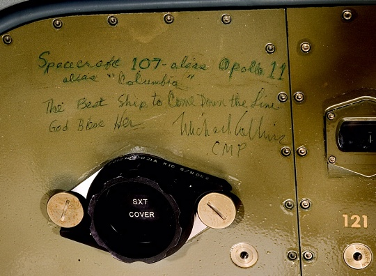 Michael Collins' Inscription inside Apollo 11 Command Module