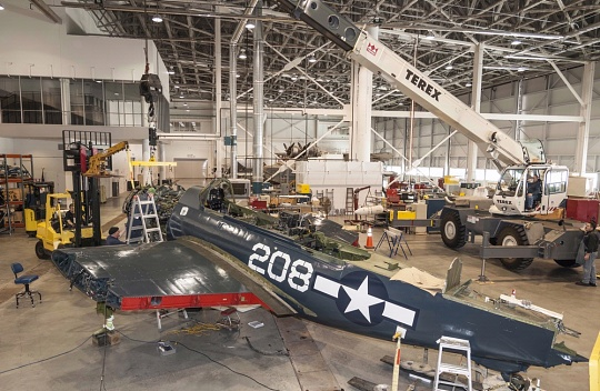 Curtiss SB2C-5 Helldiver in Restoration Hangar