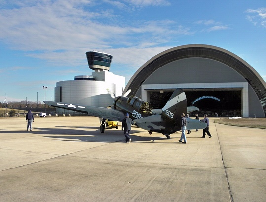 Restored Curtiss SB2C-5 Helldiver Moved into Boeing Aviation Hangar