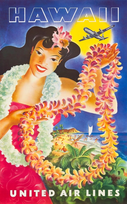 United Airlines Hawaii Travel Poster