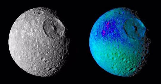 Mimas Showing False Colors - Cassini Exhibit