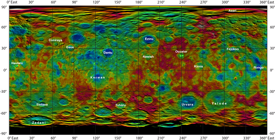 Topographic Map of Dwarf Planet Ceres