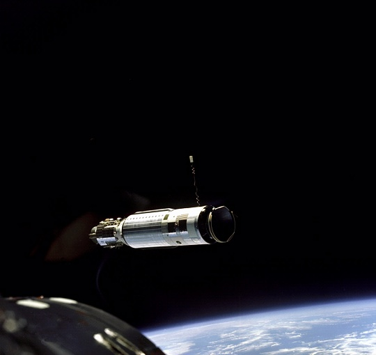 First Docking in Space - Agena Viewed by Gemini VIII