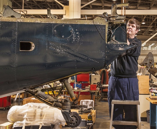 Examining the Helldiver's Tail and Rudder