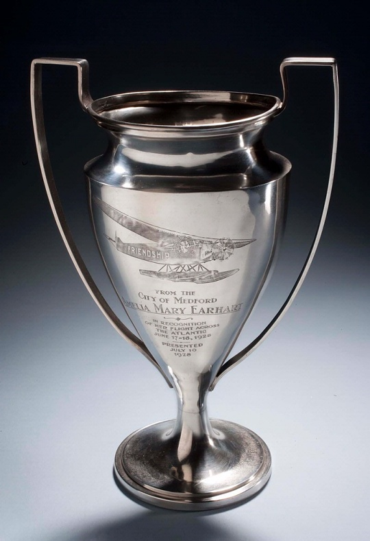 Trophy from the City of Medford to Amelia Earhart