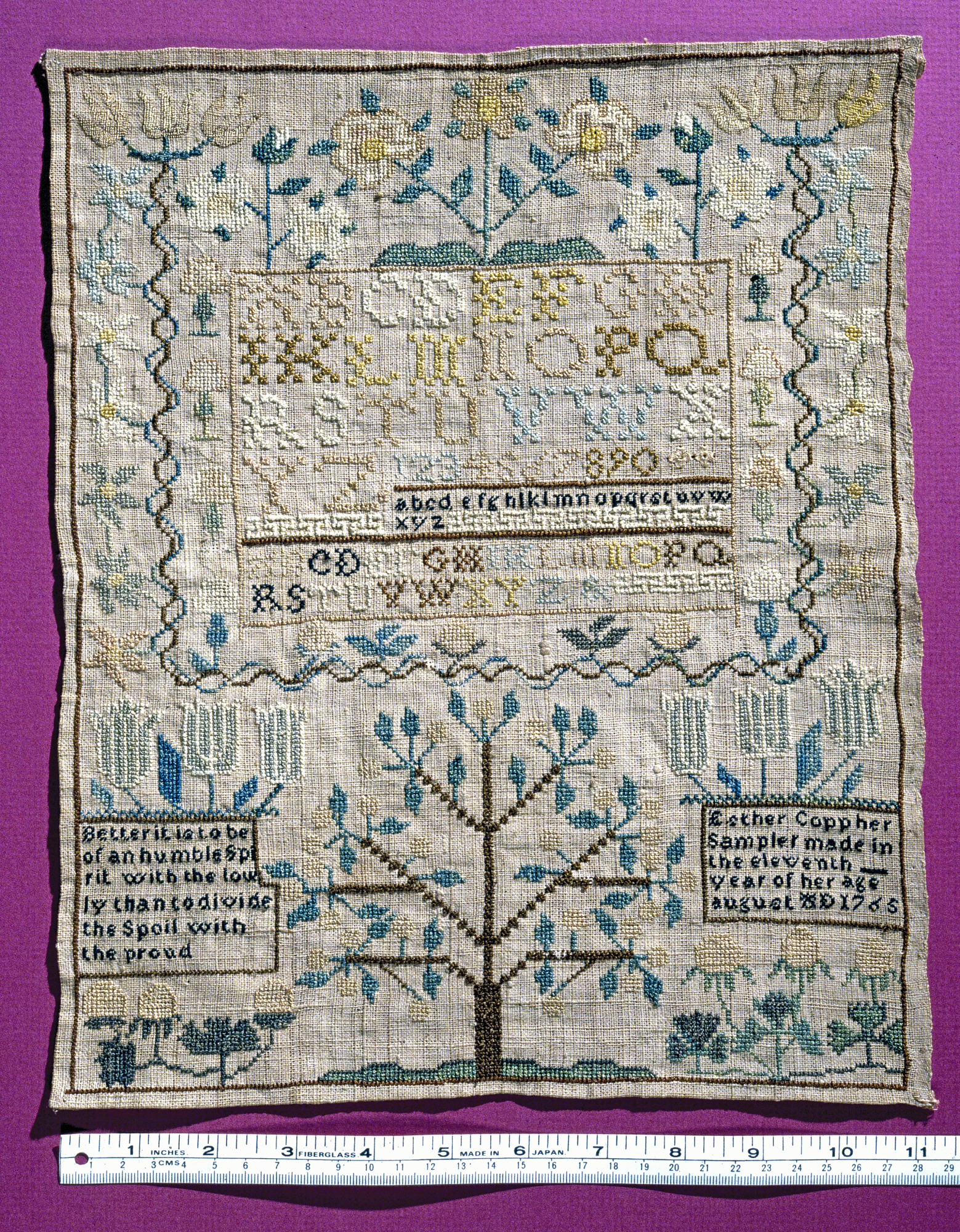 Esther Copp's sampler, 1765