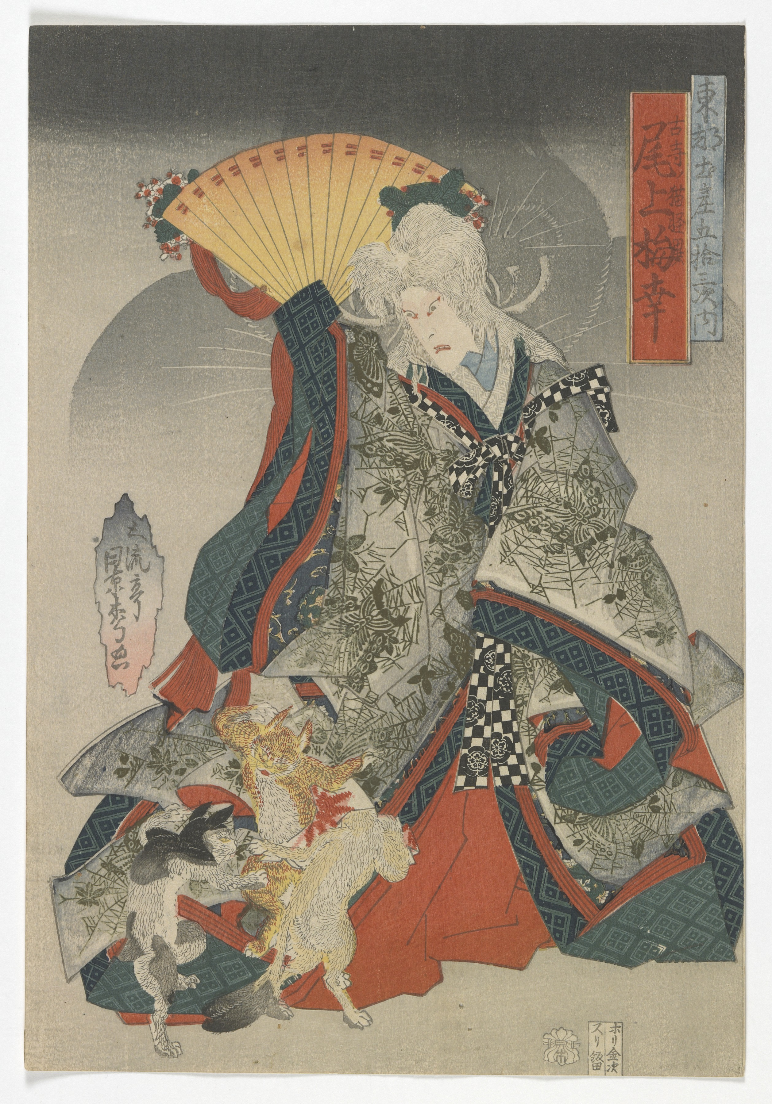 Souvenirs of the Eastern capital on the fifty-three stations of the Tokaido: the actor Onoe Baiko III as the cat spirit of old temple (Painting).
