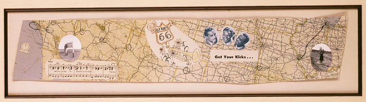 Route 66 map collage by Cynthia Troup, 1946