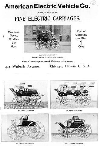 American Electric Vehicle Company Ad, 1896