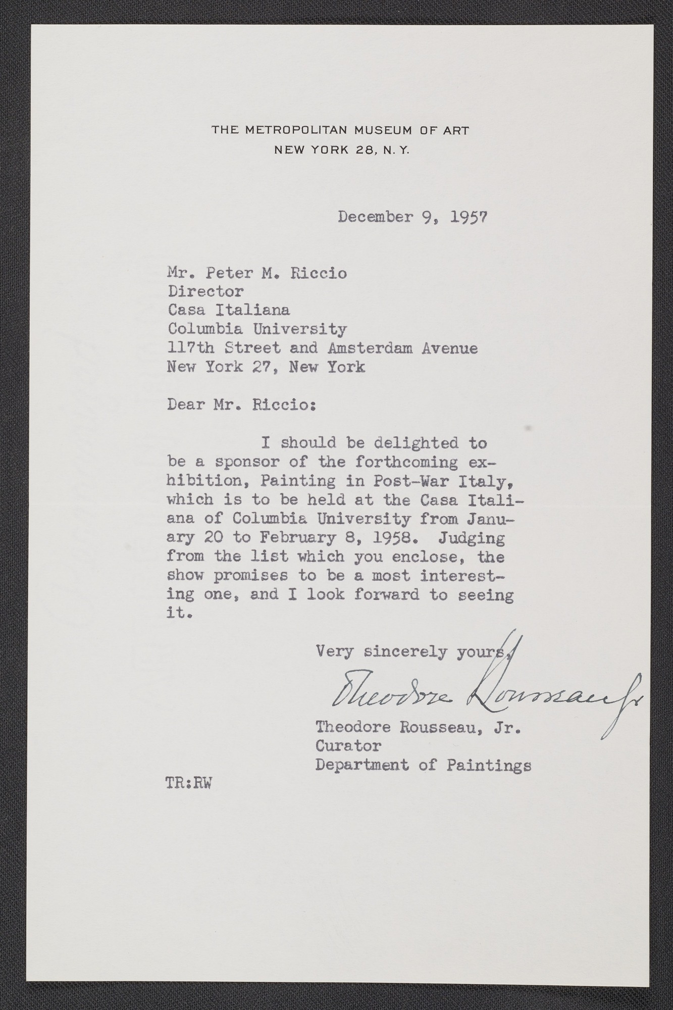 Resources letter from theodore rousseau jr curator in the resources letter from theodore rousseau jr curator in the department of paintings at the metropolitan museum of art to peter m riccio at columbia thecheapjerseys Image collections