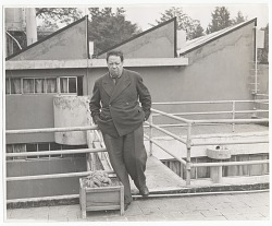 Photograph of Diego Rivera on studio roof