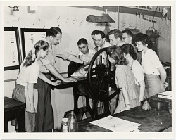Will Barnet and students printing at the Art Students League.