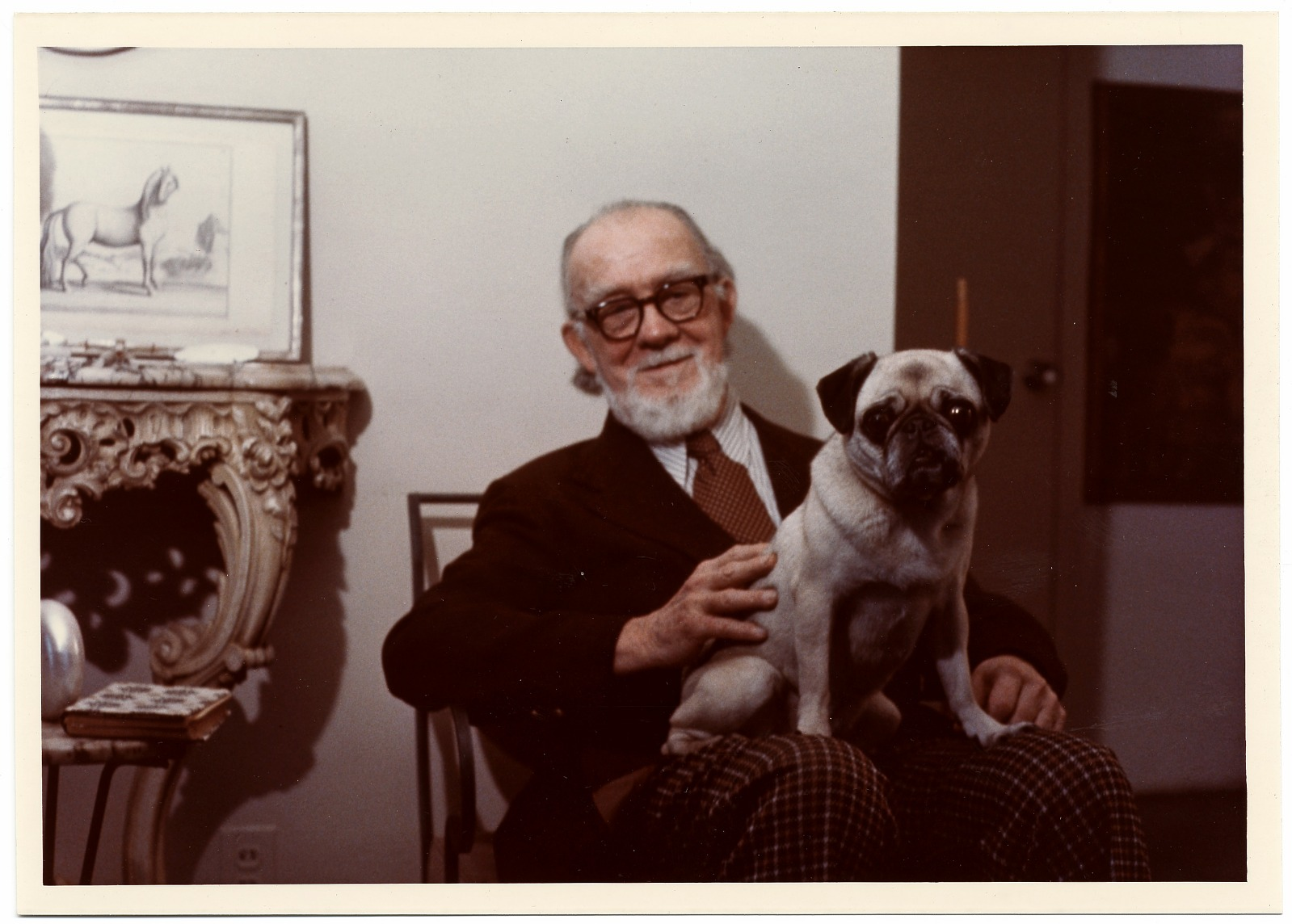 Photograph of Rudi Blesh with his dog