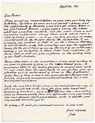 Jacob Lawrence letter to Romare Bearden