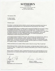 Augusto O. Uribe, New York, N.Y. to Mario Carreño, Miami, Fla.