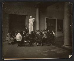 Mary H. Buehr teaching art class